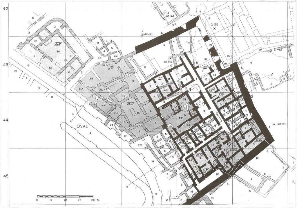 Figure 7 – Niveaux Houses 2 et 1. Pinhas DELOUGAZ et alii., Private Houses and Graves..., planche 14. Avec l'aimable autorisation de l'Oriental Institute of Chicago.