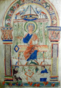 Figure 1 : Folio 2 v., Saint Grégoire et ses scribes © Photo Marianne BESSEYRE