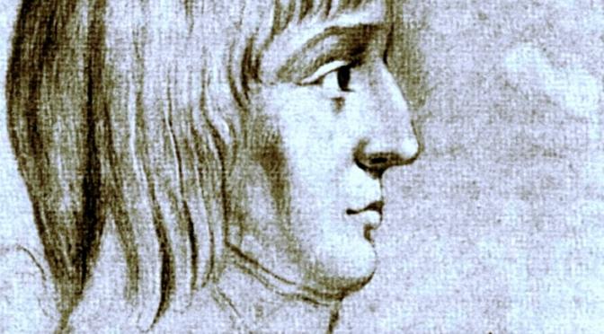 Figure 1. Napoléon Bonaparte à l'âge de 16 ans (crayon rehaussé de blanc sur papier bleu), Musée de la Malmaison. Cliché pers.