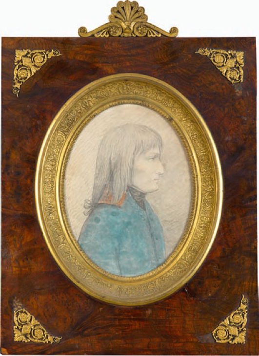 Figure 2. Portrait de profil du général Bonaparte. Dessin au crayon rehaussé d'aquarelle, d'après nature pendant la campagne d'Italie en 1796 par Giuseppe Longhi (collection privée). Crédit photog: Binoche Renaud Giquello.